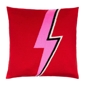 Cashmere and fine wool blend 50cm x 50 cm cushion cover in red featuring a pink black and white david bowie inspired lightning bolt