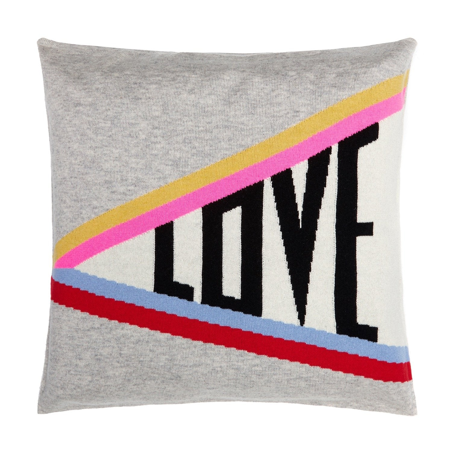 cashmere and wool blend cushion cover in grey with pink red blue and yellow rainbow stripe and love slogan part of the online exclusive homeware collection