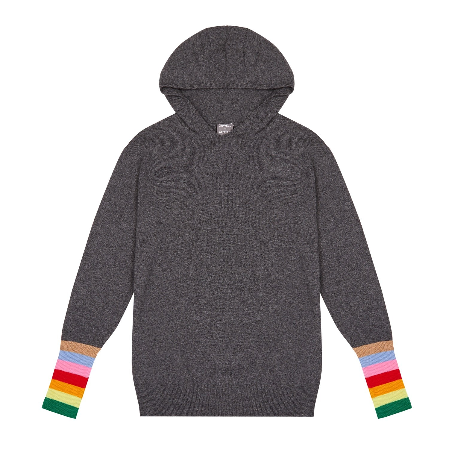 dark grey cashmere and wool blend women's loungewear hoodie with rainbow stripe cuff detail