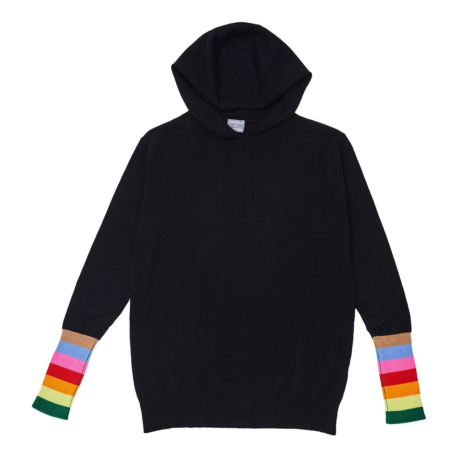 black cashmere and wool blend women's loungewear hoodie with rainbow stripe cuff detail
