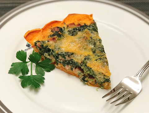 Spinach and Ham Quiche w/ Sweet Potato Crust