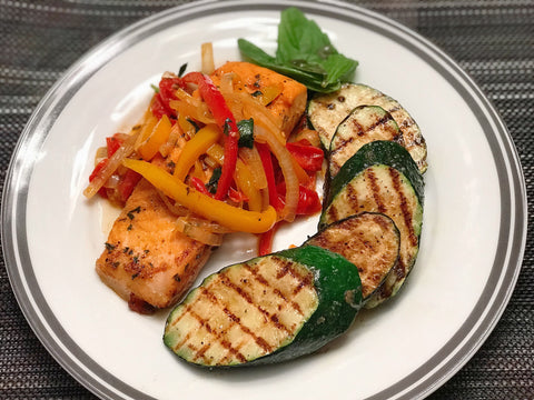 Salmon and Pepper Relish w/ Grilled Zucchini