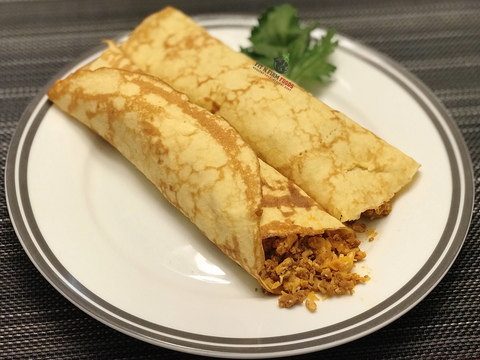 Scramble Eggs and Chorizo Crepes