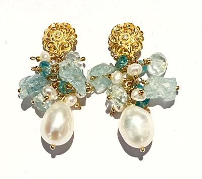 Ivory baroque pearl earrings clusters of aquamarine, peridot, herkimer diamond quartz