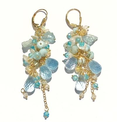 blue topaz aquamarine gemstone dangle earrings gold fill
