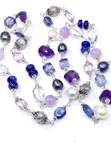 Long Sterling silver wire wrapped necklace with amethyst, kyanite, pearls and more