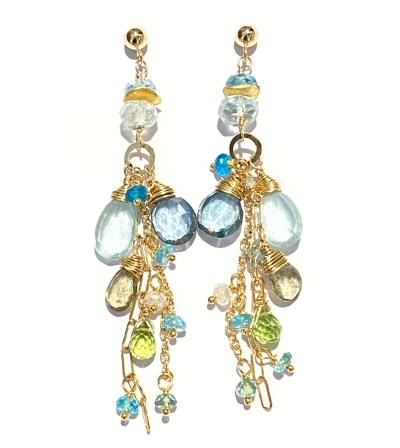 moss aquamarine peridot long boho earring gold fill