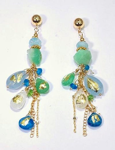 Aquamarine Chrysoprase Moonstone 24kt Gold Leaf Boho Dangle Earrings
