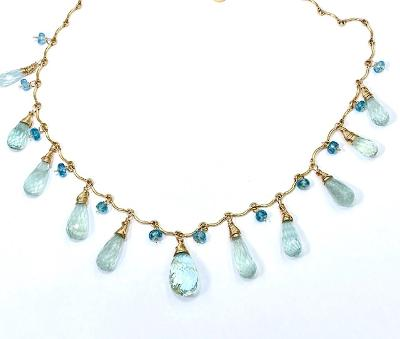 Aquamarine dangle necklace gold filled