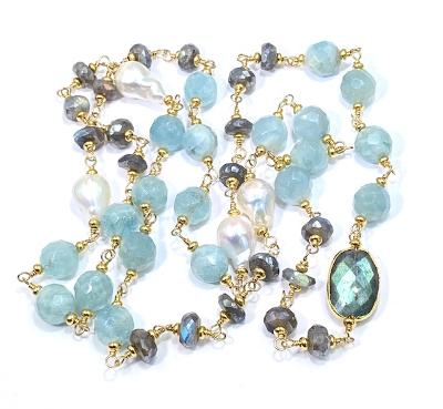 Aquamarine Labradorite Pearl Wire Wrapped Long Necklace