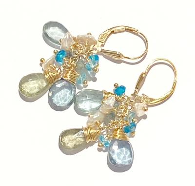 moss aquamarine lever back earrings