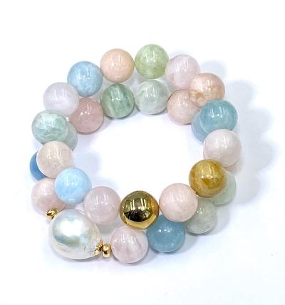 Aquamarine, beryl, pearl stretch stacking bracelets
