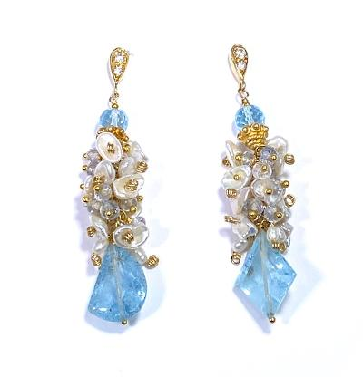 aquamarine gemstone earrings with keishi pearl clusters
