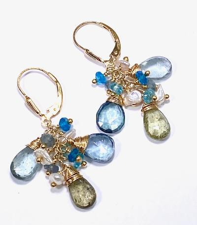 moss aquamarine earrings gold filled