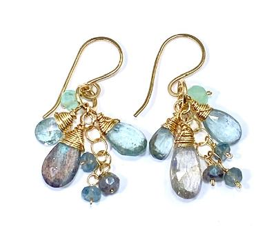 moss aquamarine and labradorite dangle earrings