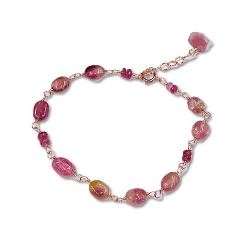 pink tourmaline wire wrapped bracelet in rose gold
