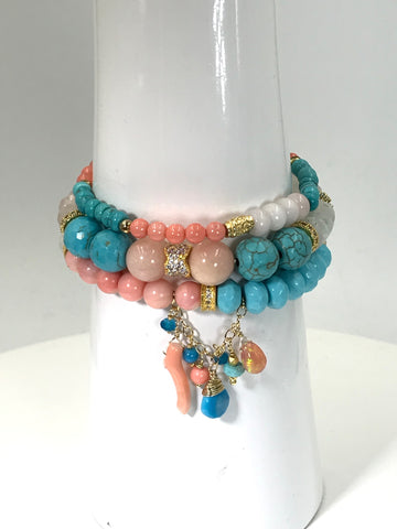 turquoise and coral custom bracelets