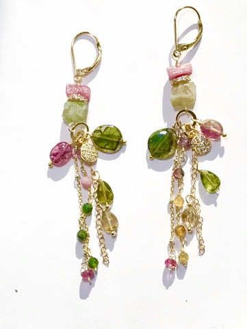 pink and green tourmaline crystal long boho dangle earrings in gold
