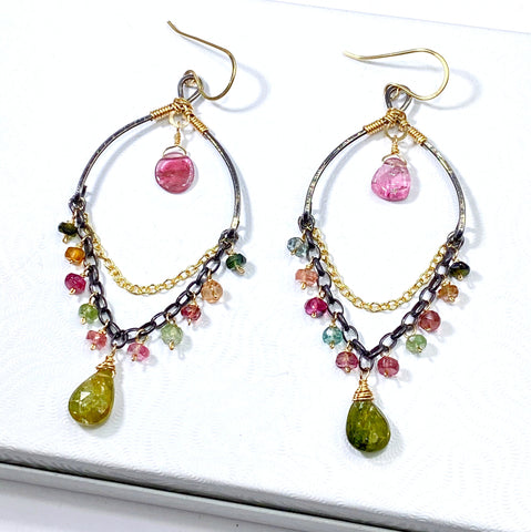 Tourmaline chandelier earrings in mixed metals boho style