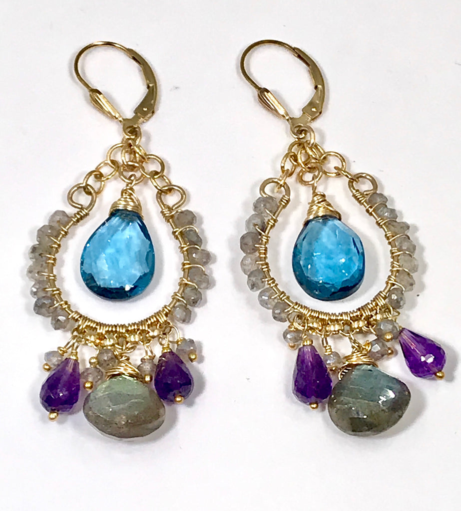 London Blue Topaz and Labradorite Gemstone Chandelier Earring - doolittlejewelry