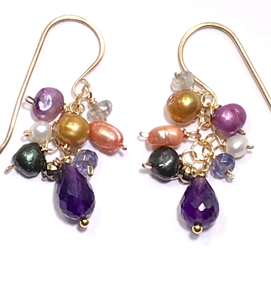 Amethyst and Multicolor Pearl Dangle Earrings - doolittlejewelry