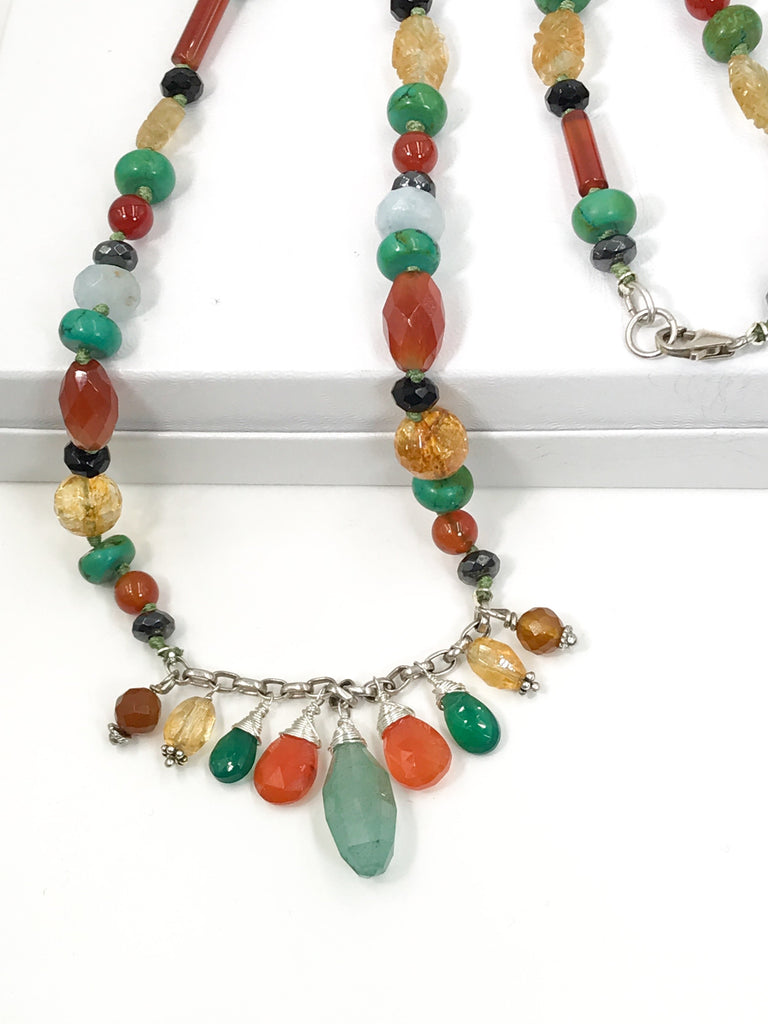 Gemstone Dangle Knotted Colorful Beaded Necklace - doolittlejewelry