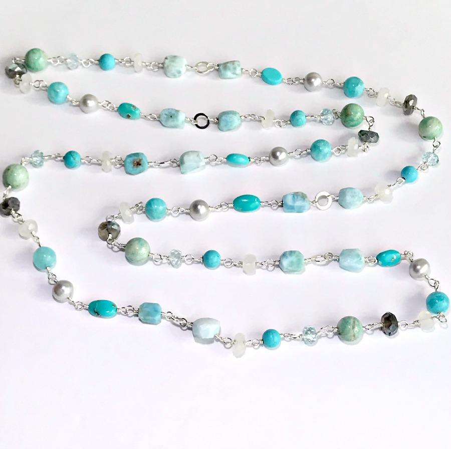 Larimar, Turquoise, Moonstone, Gemstone and Pearl Sterling Silver Necklace - doolittlejewelry