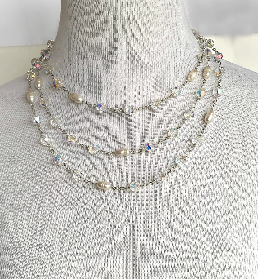 Swarovski Crystal Pearl Long Necklace Wire Wrapped Sterling Silver Sautoir - doolittlejewelry