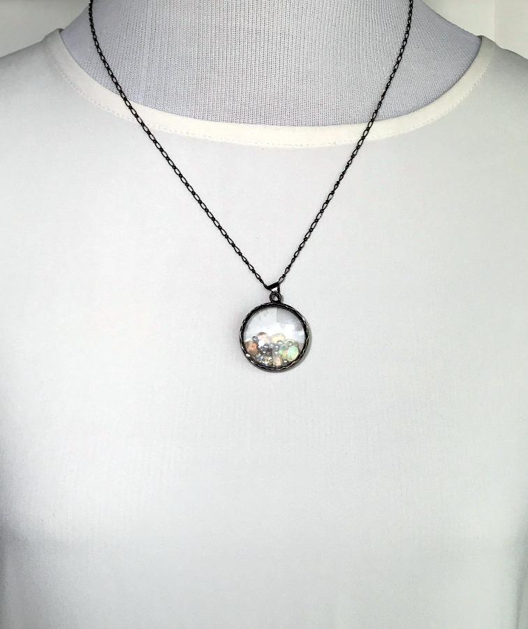 Opal Moonstone and Pearl Sterling Silver Necklace - doolittlejewelry