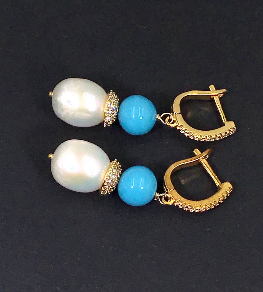 Pearl and Turquoise Wedding Earrings - doolittlejewelry