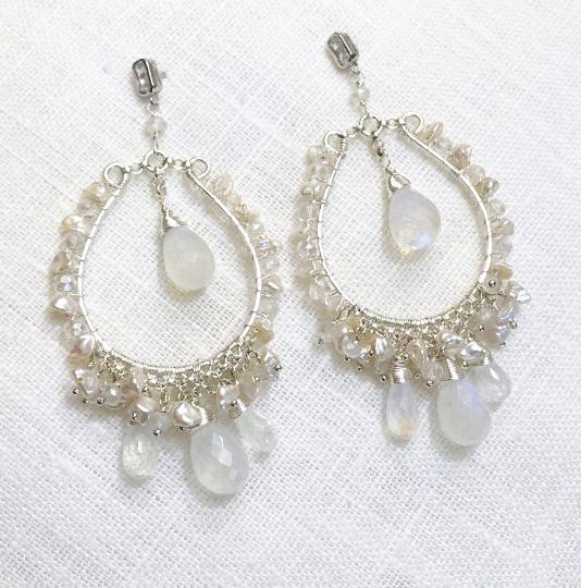 Pearl Moonstone Hoop Statement Boho Wedding Earrings - doolittlejewelry