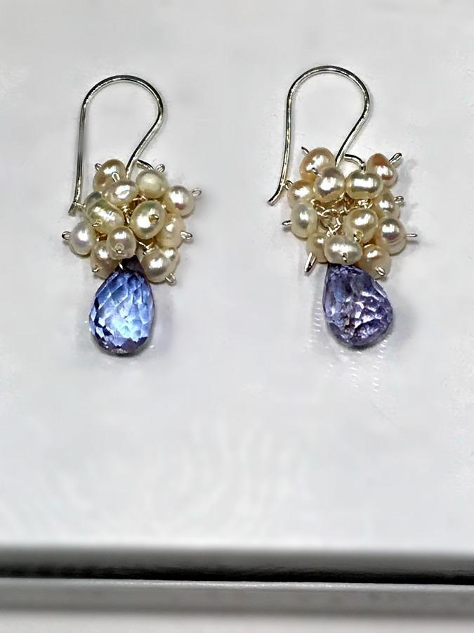 Blue Drop Earrings with Pearl Clusters Sterling Silver - doolittlejewelry