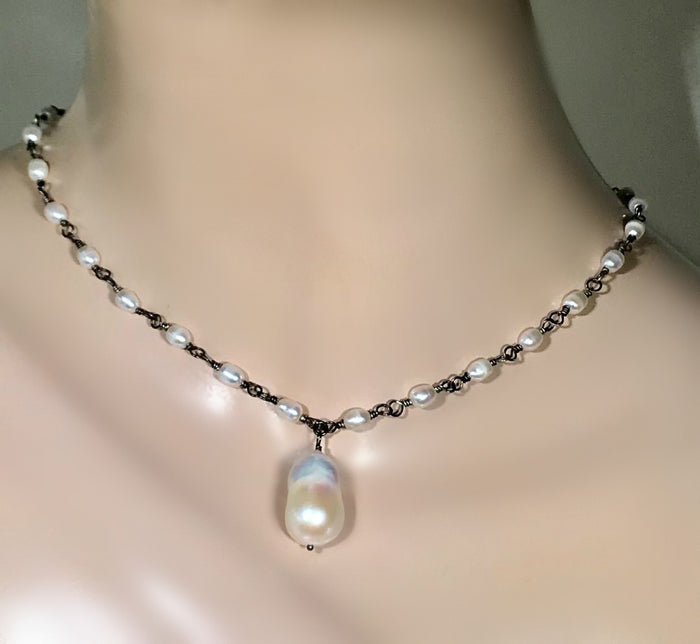Dainty Baroque Pearl Necklace Wire Wrapped Rosary Style Oxidized Sterling Silver - doolittlejewelry