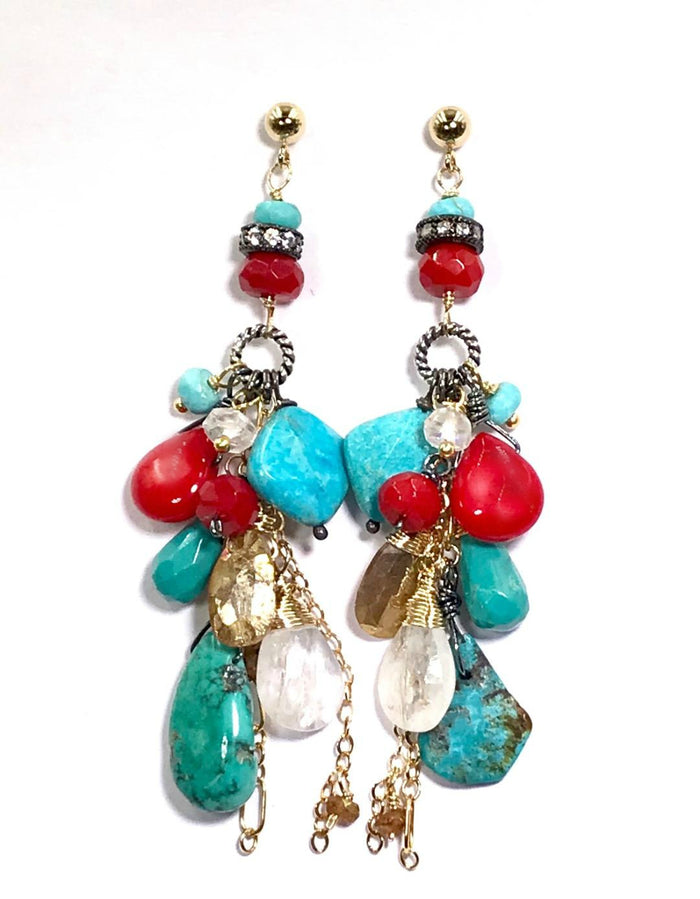 Turquoise Red Coral Moonstone Long Boho Dangle Earrings Mixed Metal - doolittlejewelry