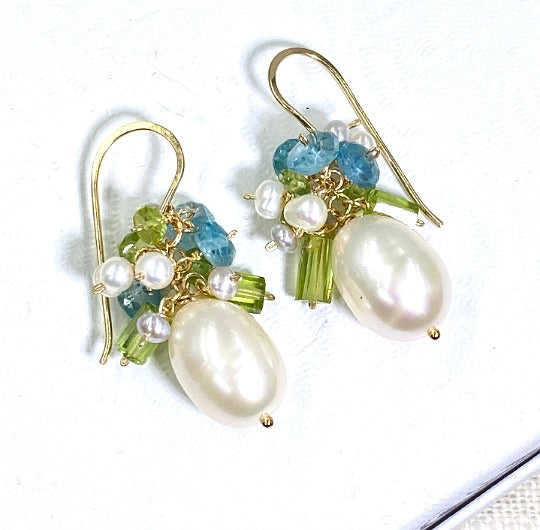 Pearl and Peridot, Blue Zircon Cluster Earrings Gold Fill
