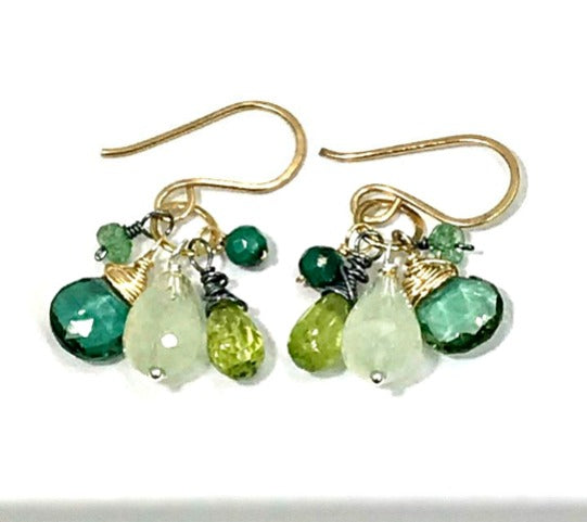 Green Gemstone Mixed Metal Dangle Earrings Prehnite Green Quartz Peridot