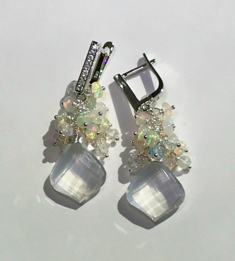 Opal Cluster Crystal Quartz Leverback Earrings - doolittlejewelry