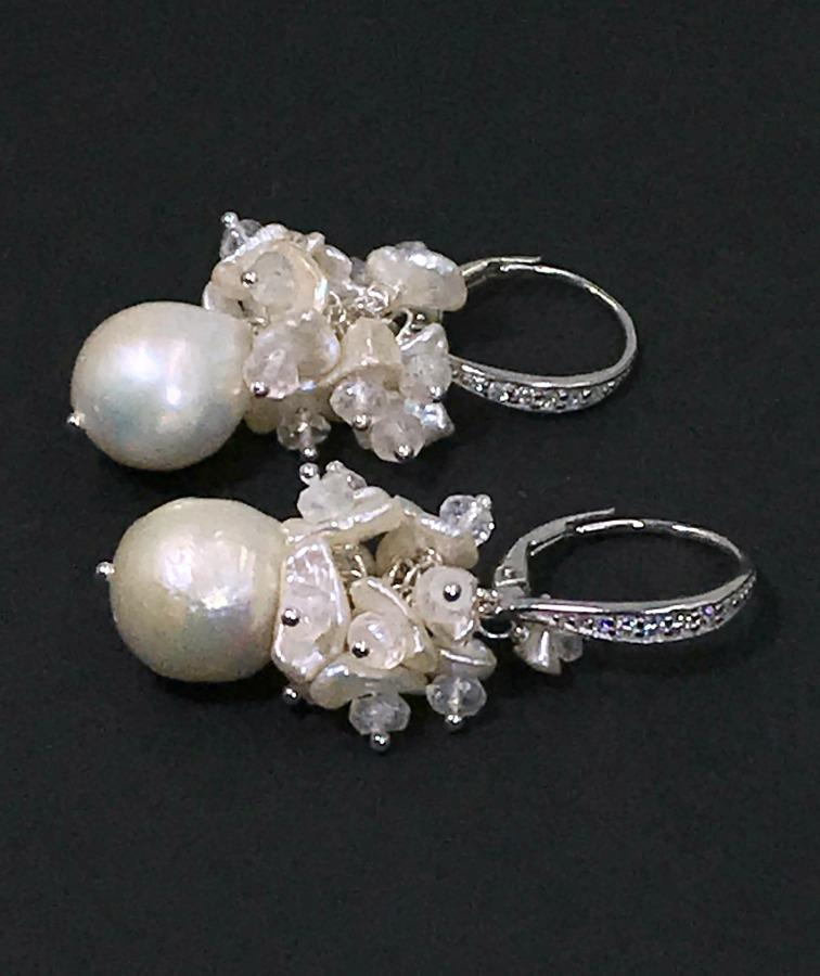 Ivory Pearl Cluster Wedding Bridal Earrings - doolittlejewelry