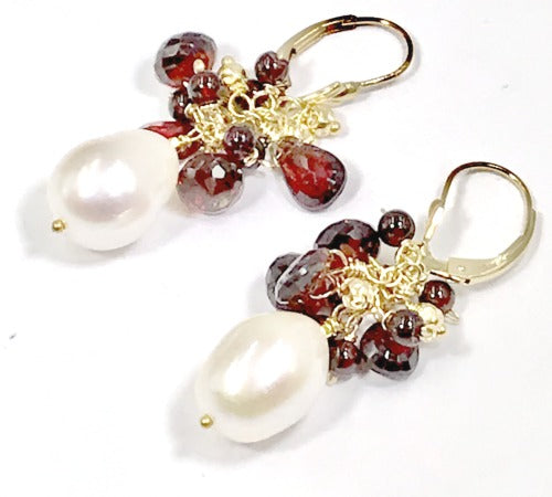 Ivory Pearl and Red Garnet Gemstone Cluster Earrings Gold Fill - doolittlejewelry