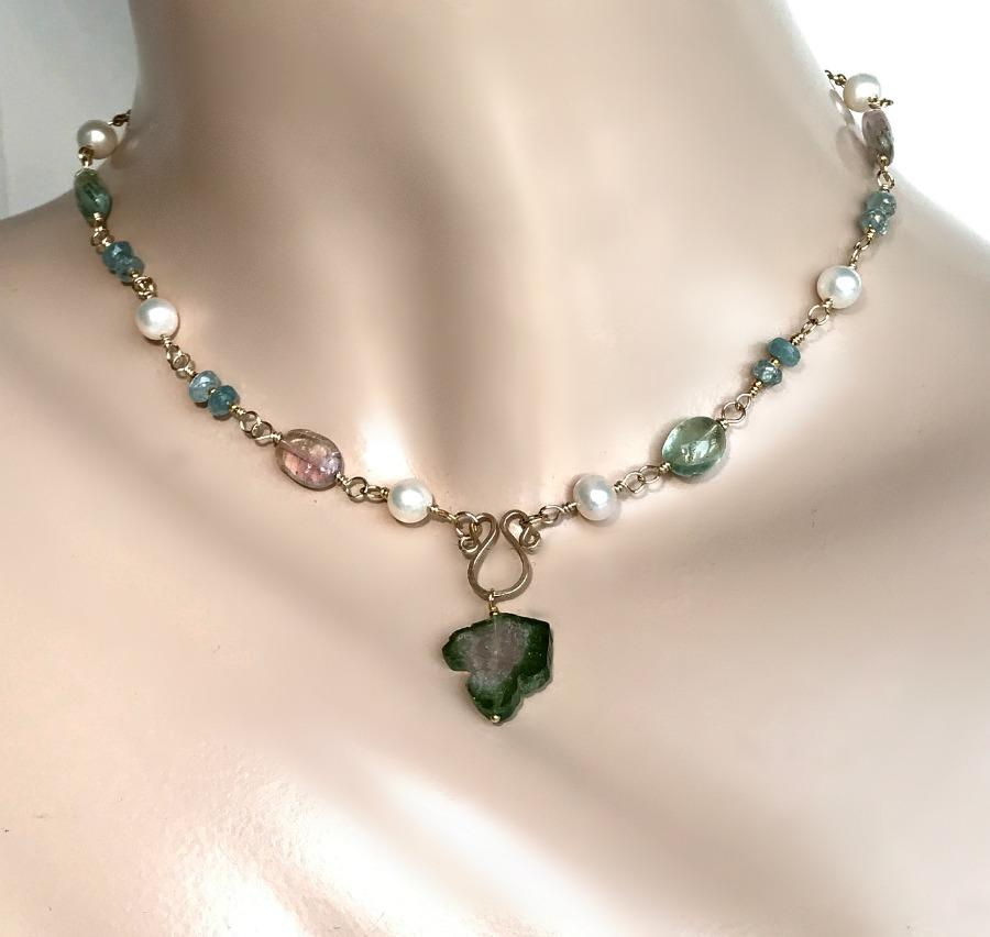 Pearl, Blue Zircon and Pink Green Tourmaline Slice Necklace - doolittlejewelry