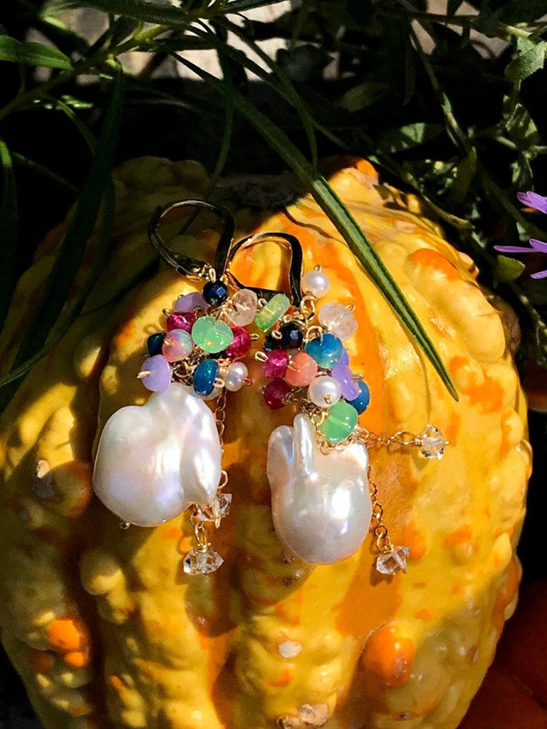 Opal Cluster Baroque Pearl Earrings Multi-color Gemstone - doolittlejewelry