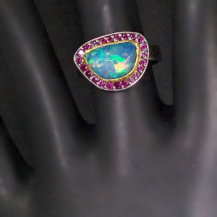 Opal and Pink Sapphire Ring in 22kt Gold and Oxidized Sterling Silver - doolittlejewelry