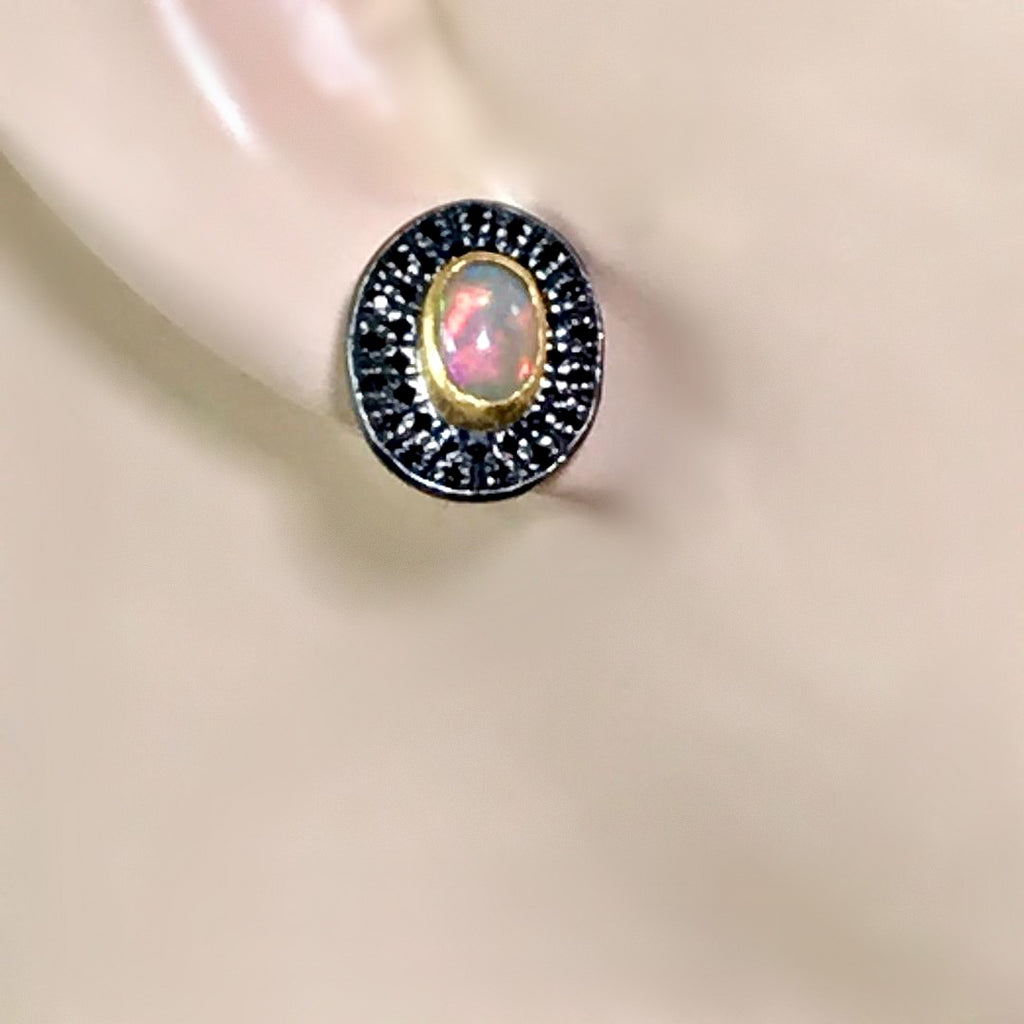 Opal and Pave Black Spinel Post Stud Earrings 22 kt Gold - doolittlejewelry