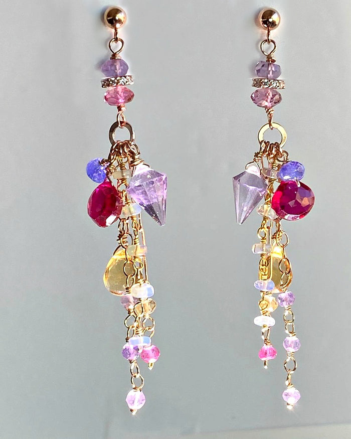 Multi-color Gemstone Long Chain Dangle Earrings Red Topaz Pink Amethyst Citrine Opal Rose Gold - doolittlejewelry