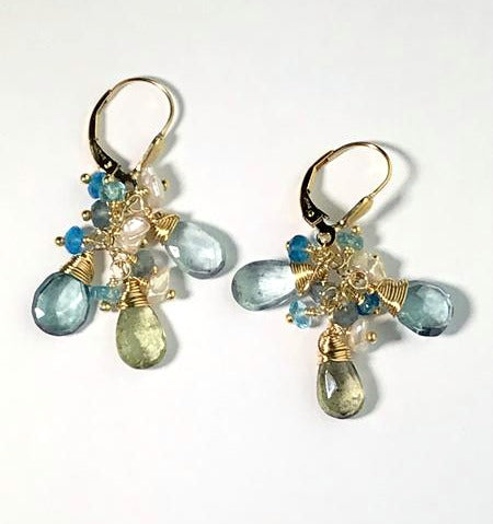 Moss Aquamarine Gold Wire Wrapped Earring - doolittlejewelry