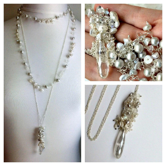 Sterling Silver and Pearl Moonstone Cluster Pendant Wedding Necklace - doolittlejewelry