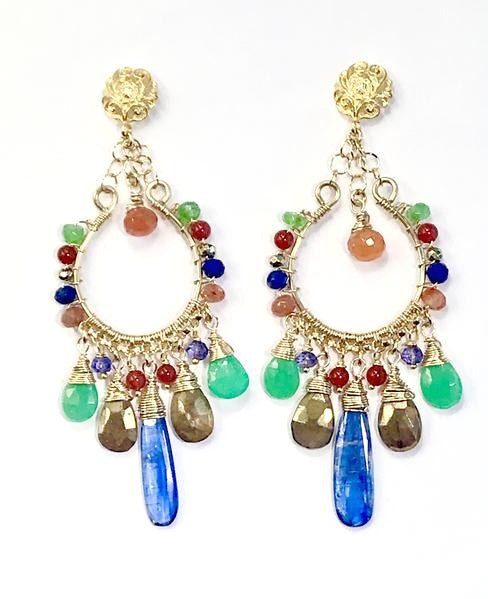 Colorful Chandelier Earrings Gold Fill Kyanite Carnelian Chrysoprase Lapis - doolittlejewelry