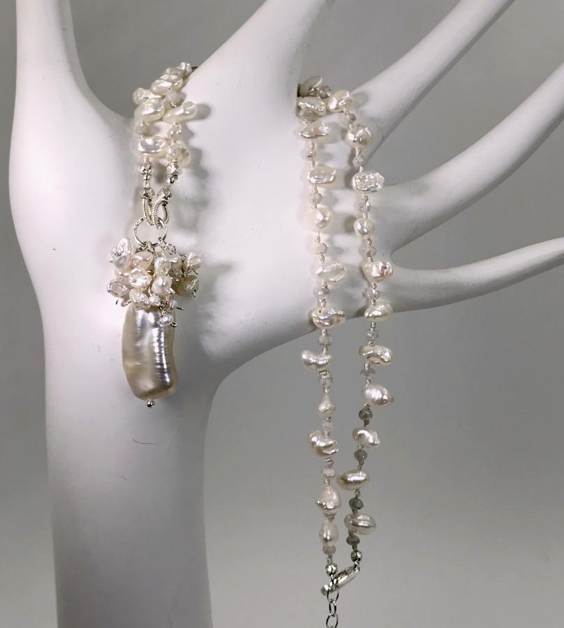 Pearl Crystal Silk Knotted Wedding Necklace - doolittlejewelry
