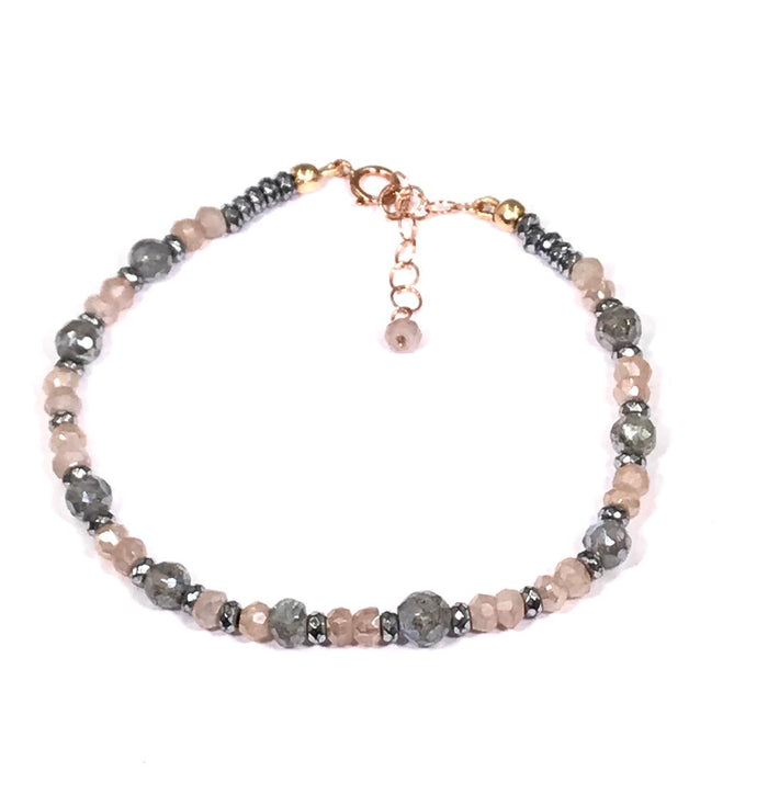 Labradorite Blush Moonstone Rose Gold Beaded Stacking Bracelet - doolittlejewelry