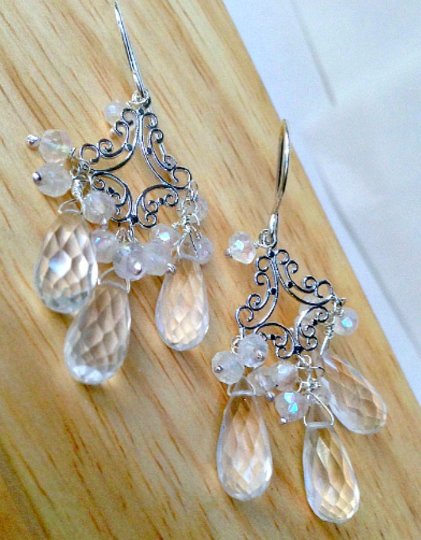 Wedding Chandelier Earrings Sterling Silver Crystal Quartz - doolittlejewelry